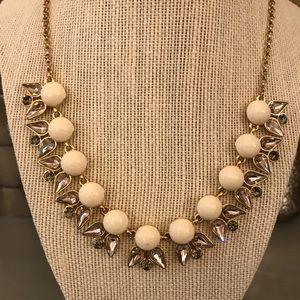 J.Crew Gray Cream Gold Jeweled Statement Necklace